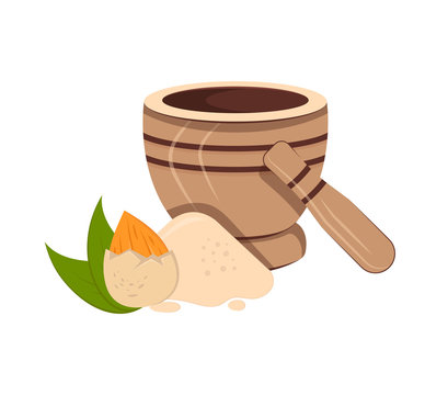Vector illustration of nut, almond flour and mortal and pestle. Food additive on a white background.