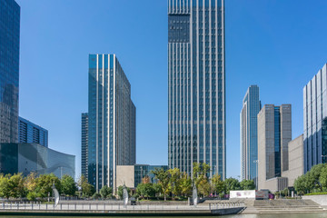 Papiers peints Chicago Urban road and modern office building of Ningbo business district