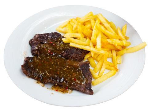 Beef steak with chimichurri sauce