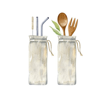 Reusable metal straws, brush, wooden cutlery fork and spoon in cotton bags - isolated on white background. Zero waste kitchen clipart. No plastic, organic, eco-friendly lifestyle.