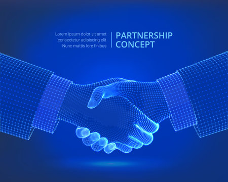 Partnership handshake. Collaboration concept. Business partners shaking hands agreement. Team work, successful team. Handshake sign. Corporate business concept. Successful deal