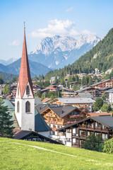 Alpine landscape with Pfarrkirche, Seefeld, Austria