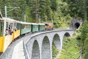 Historic steam train in Davos, Switzerland