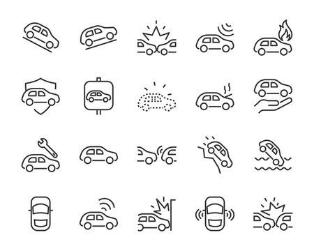 set of car icons, autocare, accident, crash, insurance, transport