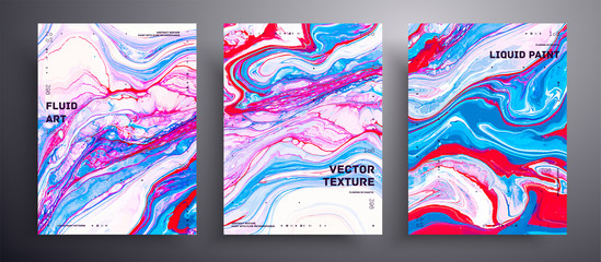 Fototapete - Abstract liquid banner, fluid art vector texture collection. Trendy background that applicable for design cover, invitation, presentation and etc. Blue, red, pink and white creative surface template.