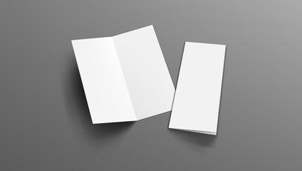Slim Vertical Half Folded Brochure On Gray