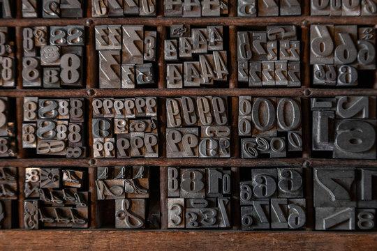 lettere, piombo, tipografiche, tipografia, antiche, mercatino