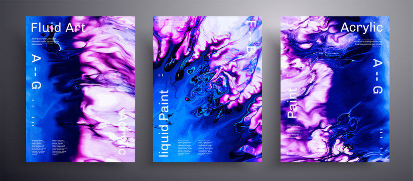 Abstract acrylic poster, fluid art vector texture collection. Beautiful background that can be used for design cover, invitation, presentation and etc. Blue, purple and white creative template.