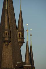 Fotobehang Temple Prague (Czech Republic). Dome of the Church of Týn.(Chrám Matky Boží před Týnem) in Old Town Square (Staroměstské náměstí) of the city of Prague