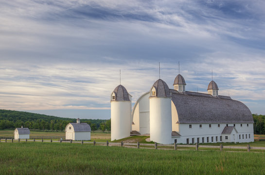 Summer landscape of restored barn on the historic D. H. Day farmstead, Sleeping Bear Dunes National Lakeshore, Michigan, USA