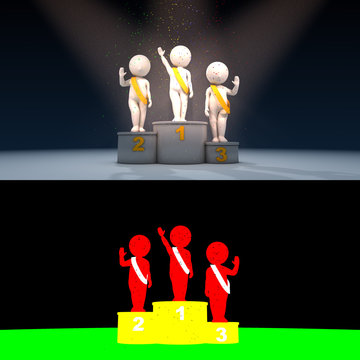 Confetti falling on beauty contest winner on podium, 3D render