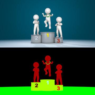 Stickman jumping on podium, 3D render