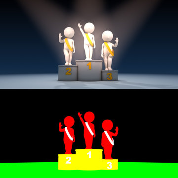 Beauty contest winner on podium, 3D render