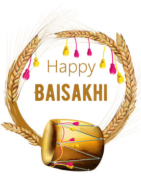Happy baisakhi greeting card with wheat spice wreath