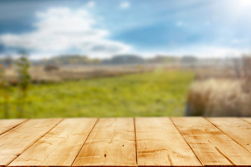 Fototapete - Table background of free space and spring landscape