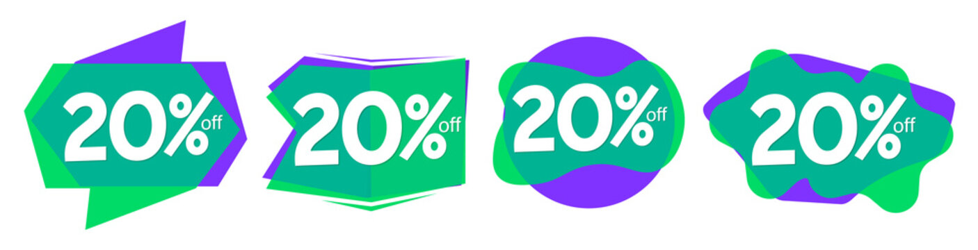 Set Sale 20% off bubble banners, discount tags design template, vector illustration