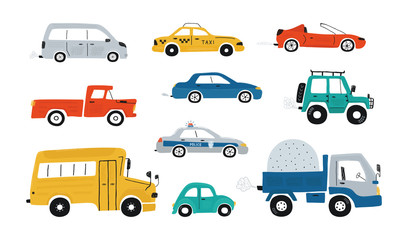 Printed kitchen splashbacks Cartoon cars Collection of cute baby's cars isolated on a white background. Icons in hand drawn style for design of children's rooms, clothing, textiles. Vector illustration