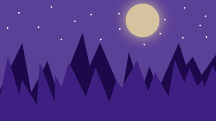 Beautiful abstract blue 2d night forest background. 2d landscape illustration. Background with moon and stars