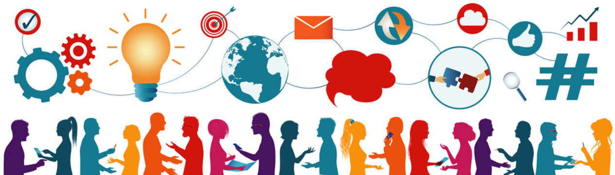 Sharing ideas.Connection and exchange of ideas - data or questions.Communication network of diverse people.Multiethnic and multicultural people.Future technology.Mind Map.Teamwork.Strategy