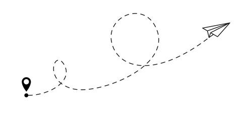 Airplane flight route destination line path. Paper plane travel dash line vector icon Fotomurales