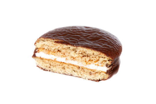 Choco pie on a white background. Chocolate covered mini cakes close-up.