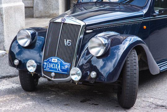 Fobello, Italy - September 03, 2016: Lancia Aprilia during the international classic car rally Lancia, in Fobello, the birthplace of Vincenzo Lancia, the founder of the car company.