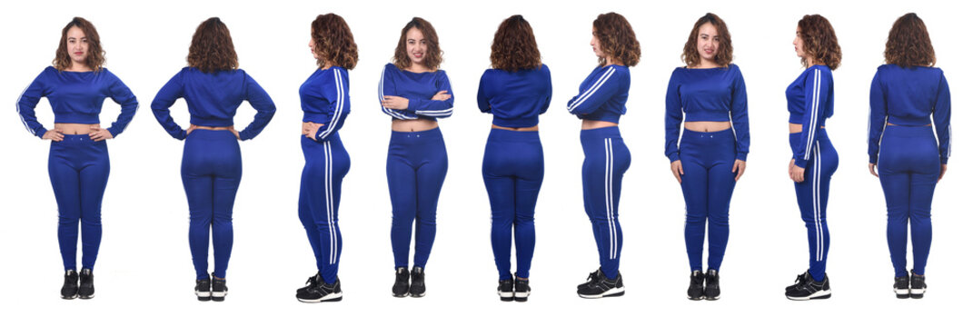 large group of same woman with sportswear front, back and side view on white background,