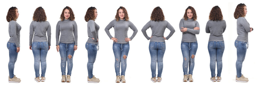 large group of same woman with jeans front, back and side view on white background