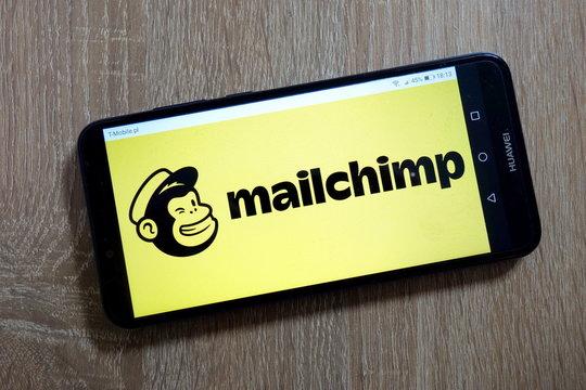 KONSKIE, POLAND - January 10, 2019: Mailchimp logo displayed on smartphone
