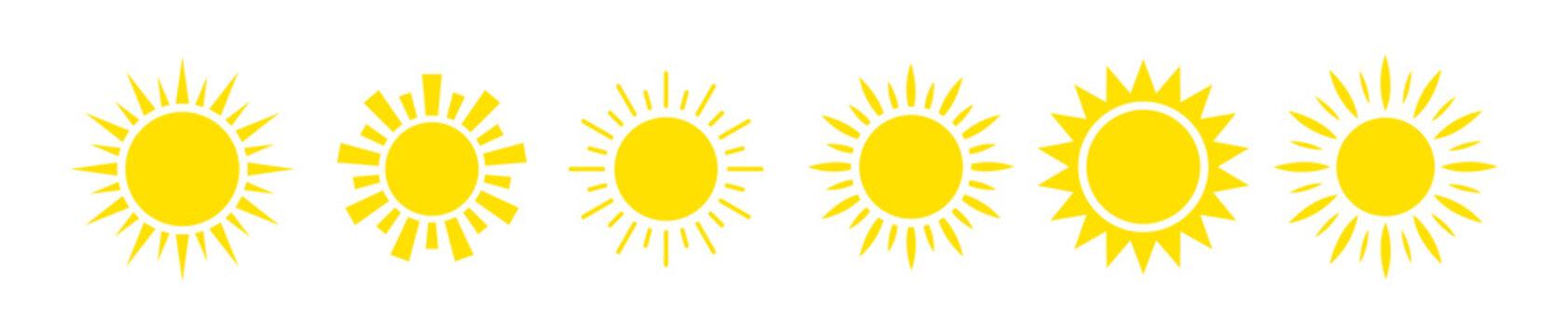 Yellow sun icon set 6 in 1
