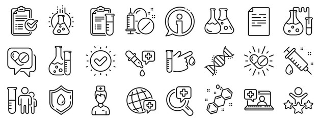 Drug testing, scientific discovery and disease prevention signs. Medical healthcare, doctor line icons. Chemical formula, medical doctor research, chemistry testing lab icons. Vector
