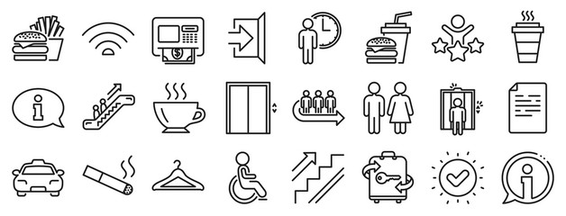 Elevator, Cloakroom and Taxi icons. Public Services, Wifi line icons. Exit, ATM and Escalator. Wifi, Lift or elevator, Restaurant food. Public cloakroom, information, coffee and smoking. Vector