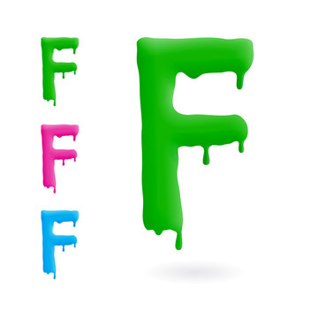 Letter F logo. Green, blue and pink character with drips. Dripping liquid symbol. Isolated vector.