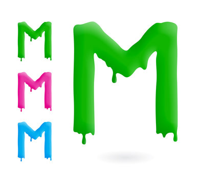 Letter M logo. Green, blue and pink character with drips. Dripping liquid symbol. Isolated vector.