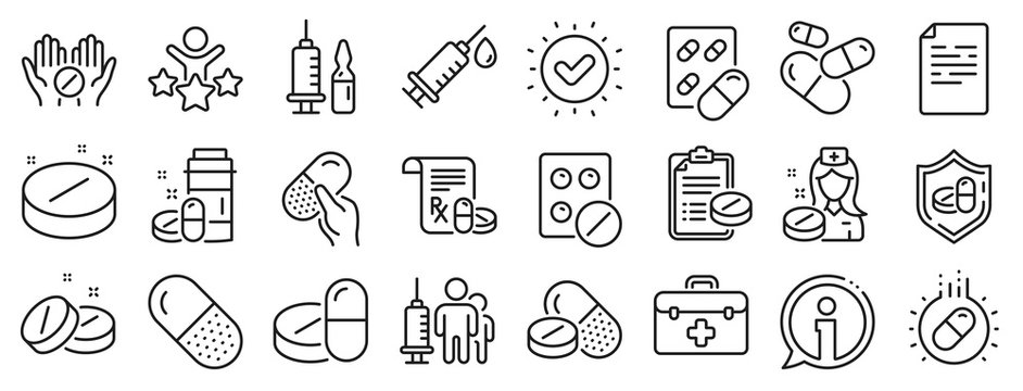 Healthcare, Prescription and Pill signs. Medical drugs line icons. Pharmacy drugs, medical nurse, recipe pill icons. Antibiotic capsule, syringe vaccination, medicine cure. Vector