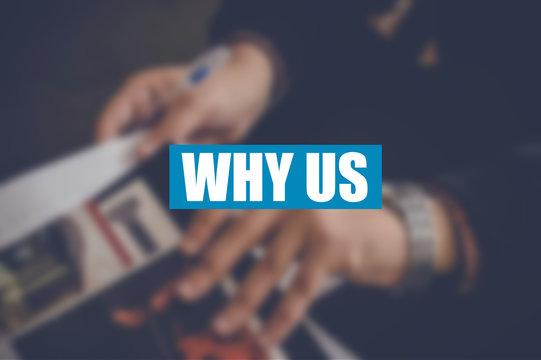why us word wirh business blurring background
