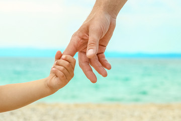 beautiful hands of a happy parent and child by the sea in nature