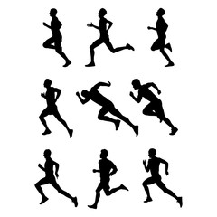 Side view of Running People Silhouette. Mega Collection of Sport Running Man Illustration. Sprint People in Black shape pack. Set of Character Shadow with white background.