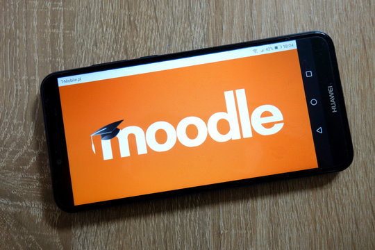 KONSKIE, POLAND - January 10, 2019: Moodle logo displayed on smartphone