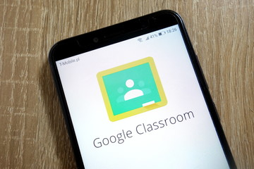 KONSKIE, POLAND - January 10, 2019: Google Classroom logo displayed on smartphone