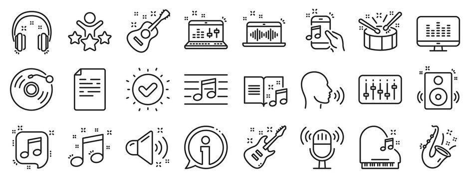 Set of Acoustic guitar, Musical note, Vinyl record icons. Music line icons. Jazz saxophone, Drums with drumsticks, DJ controller. Sound check, Mic, Music making, Electric guitar. Musical note. Vector