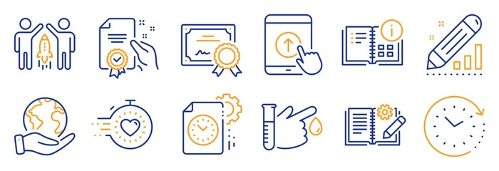 Set of Science icons, such as Partnership, Swipe up. Certificate, save planet. Blood donation, Engineering documentation, Timer. Project deadline, Instruction info, Time change. Vector