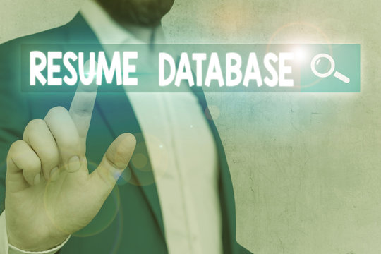 Word writing text Resume Database. Business photo showcasing database of candidates that you can search by skillset