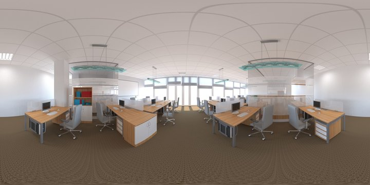 spherical panorama of the interior, 3D illustration