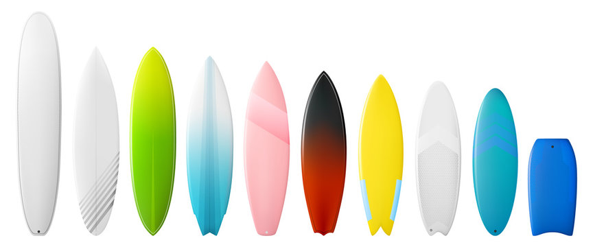 Surfboards vector set. Types of surfing boards. Different tail shapes. Bobyboard. Longboard. Shortboards.