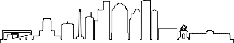 Fototapete - Houston Skyline City Outline Skyline Silhouette Vector Illustration