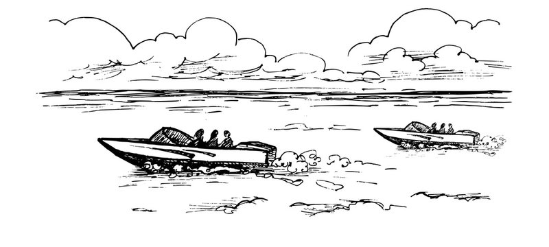 Vector monochrome image of motor boats with people floating on the water under the clouds.