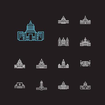 Landmark icons set. Arkansas state capitol and landmark icons with landmark, downtown, michigan state capitol. Set of hawAI for web app logo UI design.