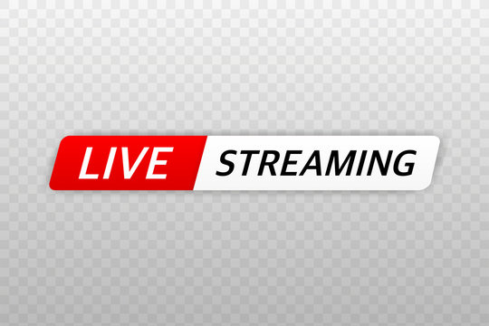 Live Streaming Icon, Badge, Emblem for broadcasting or online tv stream. Vector in flat design style.