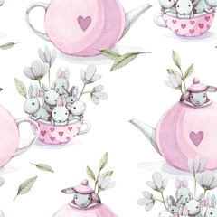 Cute baby rabbit animal with flower in pink teapot ahd cup seamless pattern, illustration for children clothing.  Hand drawn watercolor image for cases design, nursery posters, postcards, print.